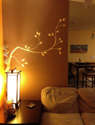 Use white vinyl branches in a corner for an unusual focal point.
