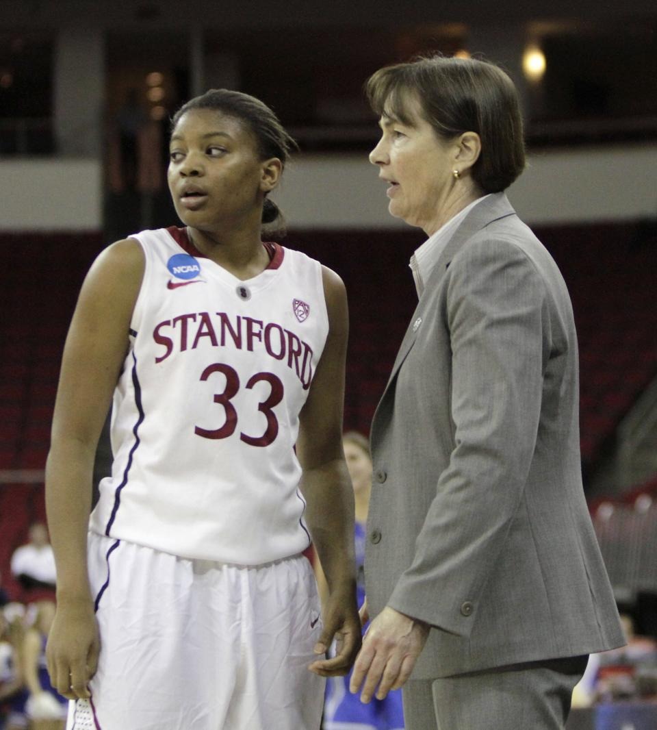 Stanford head coach Tara VanDerveer talks with guard Amber Orrange during the second half of an NCAA women's tournament regional final college basketball game,  Monday, March 26, 2012, in Fresno, Calif.  Stanford beat Duke 81-69  and is heading to the Final Four in Denver.(AP Photo/Rich Pedroncelli)