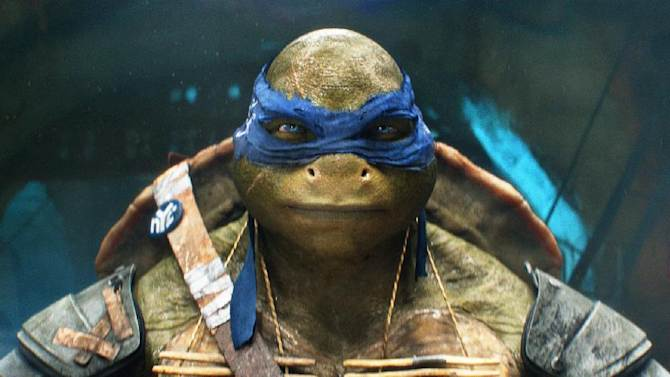 """This image released by Paramount Pictures shows the character Leonardo in a scene from """"Teenage Mutant Ninja Turtles."""" (AP Photo/Paramount Pictures, Industrial Light & Magic)"""
