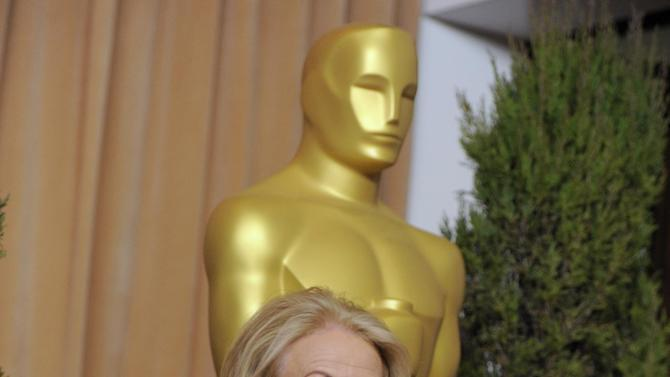 """Jacki Weaver, nominated for best actress in a supporting role for """"Silver Linings Playbook,"""" arrives at the 85th Academy Awards Nominees Luncheon at the Beverly Hilton Hotel on Monday, Feb. 4, 2013, in Beverly Hills, Calif. (Photo by Chris Pizzello/Invision/AP)"""