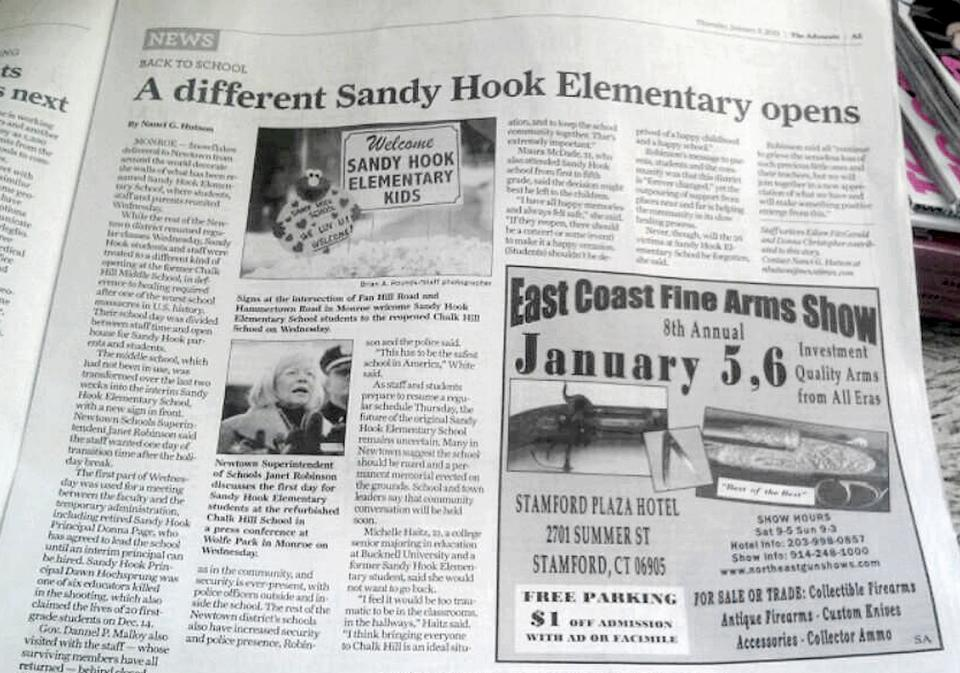 Conn. paper runs gun show ad next to Newtown story