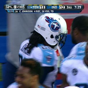 Tennessee Titans quarterback Ryan Fitzpatrick improvises, finds Chris Johnson for the TD
