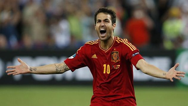 Euro 2012 - Spain's Cesc Fabregas celebrates scoring the winning penalty against Portugal in the semi-final (Reuters)