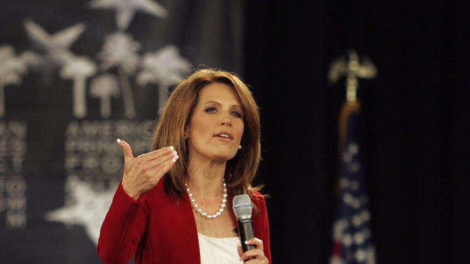 Republican presidential candidate Rep. Michele Bachmann, R-Minn., speaks the American Principles Project Palmetto Freedom Forum Monday, Sept. 5, 2011, in Columbia, S.C. (AP Photo/ Mary Ann Chastain)