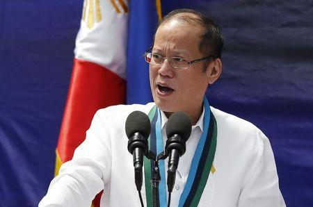 Philippine President Benigno Aquino speaks during a weapon distribution ceremony at the armed forces headquarters in Quezon city, Metro Manila