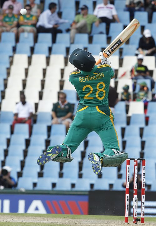 South Africa's Farhaan Behardien plays a shot during their second One Day International (ODI) cricket match against Pakistan in Centurion