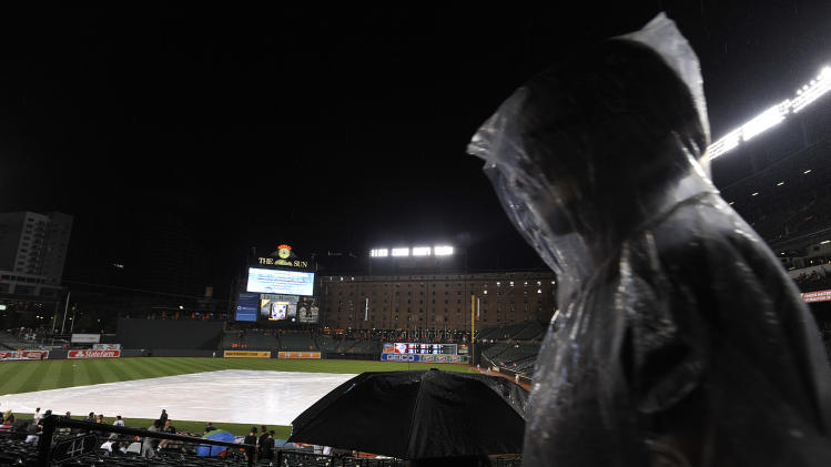 A person in a rain poncho waits out a rain delay during the Baltimore Orioles and New York Yankees baseball game, Sunday, July 13, 2014, in Baltimore. (AP Photo/Gail Burton)