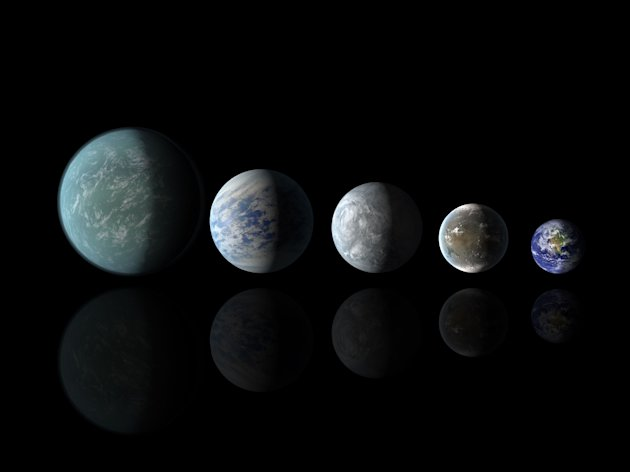 Relative sizes of Kepler habitable zone planets discovered as of April 18, 2013 in this artist's rendition provided by NASA. (L to R) Kepler-22b, Kepler-69c, Kepler-62e, Kepler 62f and Earth. Scientists using NASA's Kepler space telescope have found the best candidates yet for habitable worlds beyond the solar system officials said Thursday. REUTERS/NASA Amers/JPL-Caltech/Handout  (UNITED STATES - Tags: SCIENCE TECHNOLOGY) FOR EDITORIAL USE ONLY. NOT FOR SALE FOR MARKETING OR ADVERTISING CAMPAIGNS. THIS IMAGE HAS BEEN SUPPLIED BY A THIRD PARTY. IT IS DISTRIBUTED, EXACTLY AS RECEIVED BY REUTERS, AS A SERVICE TO CLIENTS