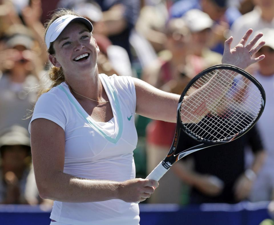 Coco Vandeweghe, of the United States, smiles after defeating Yanina Wickmayer, of Belgium, during a semifinal of the Bank of the West tennis tournament Saturday, July 14, 2012, in Stanford, Calif. Vandeweghe won 6-2, 3-6, 6-2. (AP Photo/Marcio Jose Sanchez)