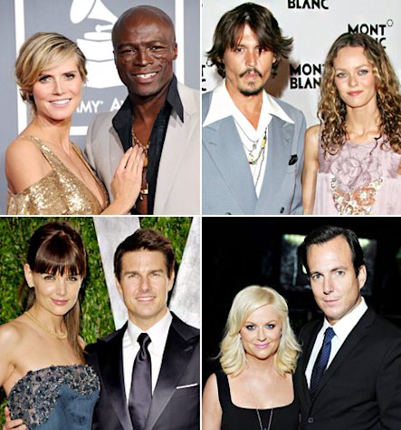 Heidi Klum and Seal; Johnny Depp and Vanessa Paradis; Katie Holmes and Tom Cruise; Amy Poehler and Will Arnett
