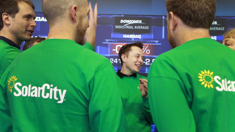 SolarCity Chairman Elon Musk attends Solarcity's IPO at the NASDAQ stock exchange on December 13, 2012 in Manhattan, New York. SolarCity is a leader of distributed clean energy and will trade under SCTY. (Mark Von Holden/AP Images for SolarCity)