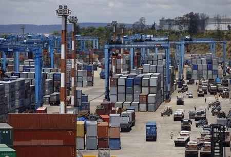 Containers are seen at the main port in the Kenyan coastal city of Mombasa