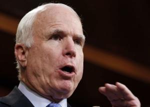 U.S. Senator McCain talks about the release of U.S. Army Sergeant Bergdahl on Capitol Hill in Washington