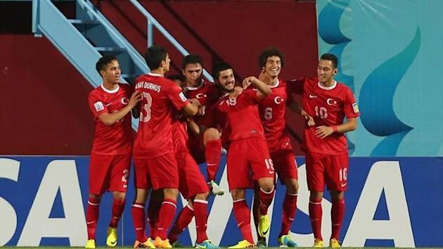 Turkey U20s celebrate a goal against El Salvador (Imago)