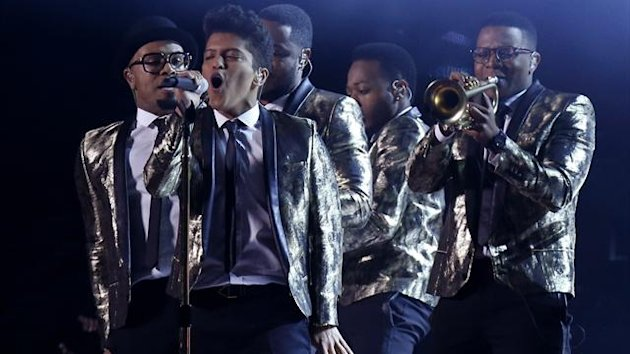 Bruno Mars performs during the halftime show of the NFL Super Bowl XLVIII football game between the Denver Broncos and the Seattle Seahawks
