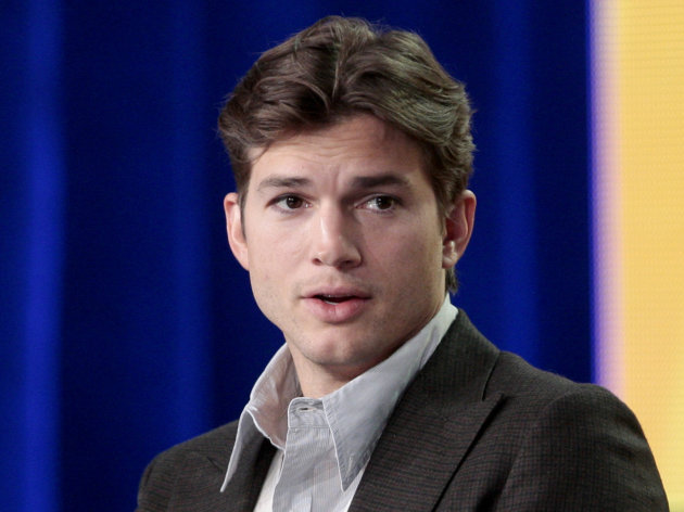 "FILE - This Jan. 11, 2012 file photo shows actor Ashton Kutcher during the panel discussion for the sitcom ""Two and a Half Men"" at the Television Critics Association Winter Press Tour for CBS, the CW and Showtime in Pasadena, Calif. Kutcher's production company Katalyst Media Inc. sued the California Department of Motor Vehicles on Tuesday, June 19, 2012, claiming the agency backed out of a deal to produce a reality series based on the much-maligned government agency. (AP Photo/Jason Redmond, file)"