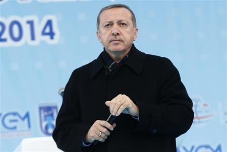 Turkey's PM Erdogan addresses crowd during opening ceremony of a new metro line in Ankara
