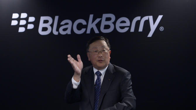 "Blackberry's Exectutive Chairman and CEO John Chen speaks during a presentation at the Mobile World Congress wireless show in Barcelona, Spain, Tuesday, March 3, 2015. BlackBerry will launch four new smartphones this year and a new package of cross-platform applications as it continues its ""philosophical"" shift to making software. (AP Photo/Manu Fernandez)"