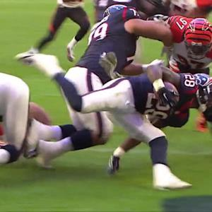 Cincinnati Bengals defense tackles Houston Texans running back Alfred Blue for a safety