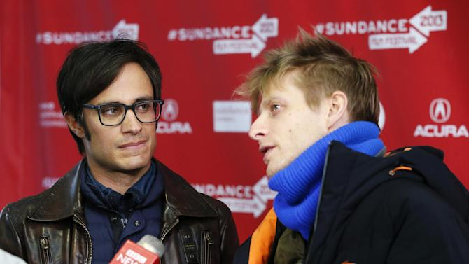 """Actor Gael Garcia Bernal, left, and director Marc Silver are interviewed at the premiere of """"Who Is Dayani Cristal?"""" during the 2013 Sundance Film Festival on Thursday, Jan. 17, 2013 in Park City, Utah. (Photo by Danny Moloshok/Invision/AP)"""