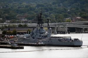 A general view of a US Navy ship at the Washington…
