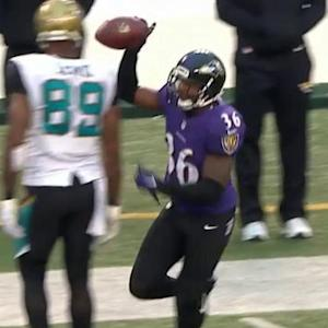 Jacksonville Jaguars quarterback Blake Bortles intercepted by Baltimore Ravens safety Jeromy Miles