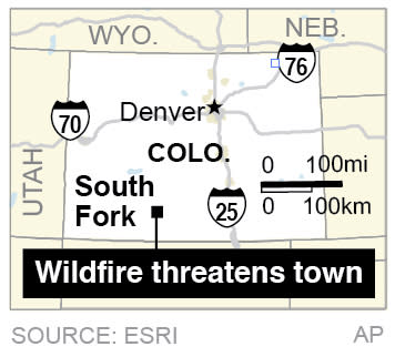Map locates South Fork, Colorado; 1c x 3 inches; 46.5 mm x 76 mm;