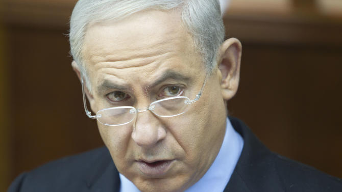 Israeli Prime Minister Benjamin Netanyahu attends the weekly cabinet meeting in his Jerusalem office, Sunday, Dec. 23, 2012. (AP Photo/Sebastian Scheiner, Pool)