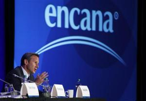 President and CEO of Encana Suttles addresses shareholders at the company's annual meeting in Calgary