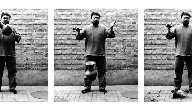 "This three-picture combo, provided by the Smithsonian's Hirshhorn Museum, shows the the three panels of Al Weiwei's triptych: ""Dropping a Han Dynasty Urn, 1995/2009."" The Smithsonian's Hirshhorn Museum presents the first U.S. retrospective of works by Chinese dissident artist Ai Weiwei as China's government continues pushing to close Ai's design firm and is preventing him from leaving the country. (AP Photo/Smithsonian's Hirshhorn Museum)"