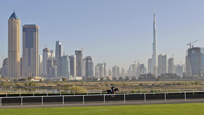 FILE- A racehorse trains during a morning session at the Godolphin Club in this file photo dated Wednesday March 23, 2011, in Dubai, United Arab Emirates. The doping scandal that led to the downfall of Godolphin trainer Mahmood al-Zarooni is now helping fuel a call for an outright ban on anabolic steroids in horse racing, it is revealed Thursday May 2, 2013, that the International Federation of Horseracing Authorities, which includes the world's top racing bodies, is expected to consider a global ban at its annual meeting in October 2013.  (AP Photo/Kamran Jebreili, FILE)