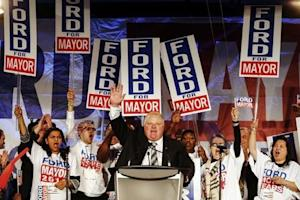 Toronto Mayor Rob Ford speaks at his campaign launch party in Toronto