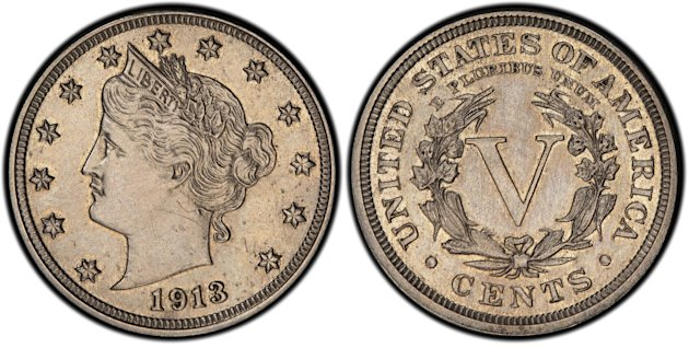 This image provided by Heritage Auctions shows an authentic 1913 Liberty Head nickel that was hidden in a Virginia closet for 41 years after its owners were mistakenly told it was a fake. The nickel i