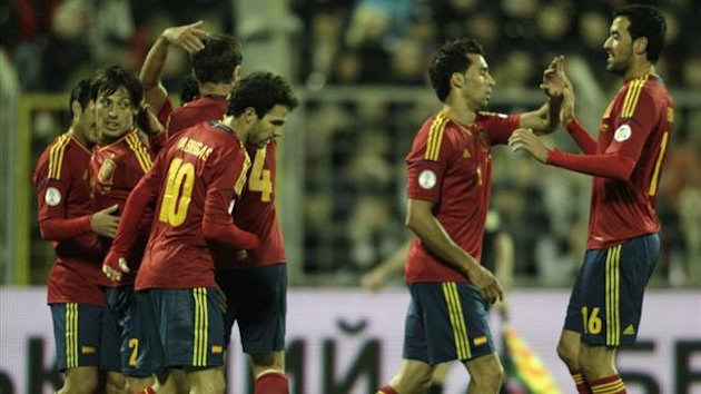 Spain's players celebrate a goal during their 2014 World Cup qualifying match against Belarus (Reuters)