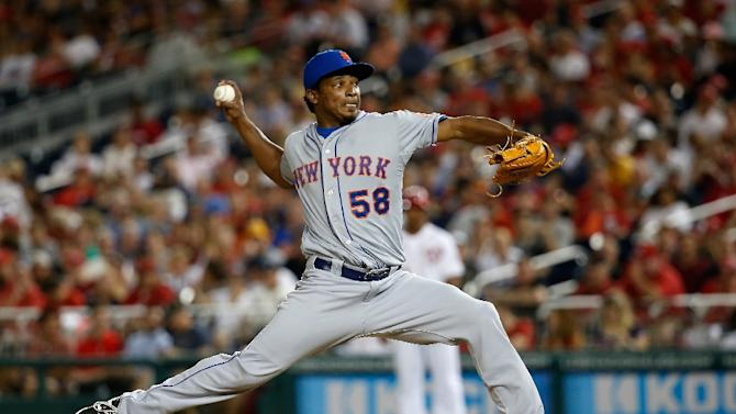Pitcher Jenrry Mejia #58 of the New York Mets pitches during a game against the Washington Nationals at Nationals Park on July 21, 2015 in Washington, DC