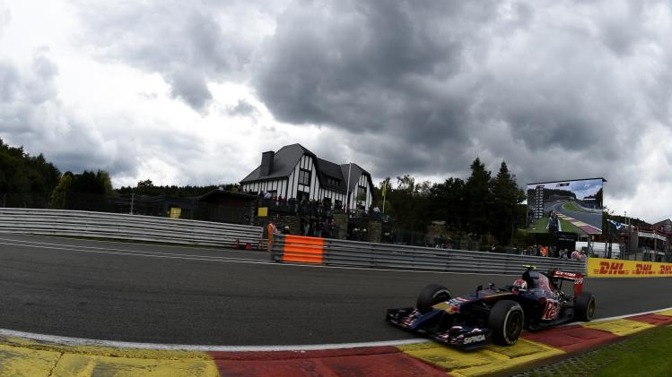 Kvyat takes part in a practice session ahead of the weekend's Belgian F1 Grand Prix in Spa-Francorchamps