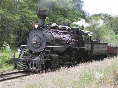 "Handout photo of Engine #45 the ""Super Skunk"" passing through lush landscape in Mendocino County"