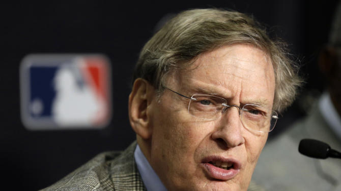 FILE- In this Oct. 27, 2012, file photo, Major League Baseball Commissioner Bud Selig talks at a news conference before Game 3 of baseball's World Series between the Detroit Tigers and the San Francisco in Detroit. Major League Baseball says it'll strengthen its policy against harassment and discrimination based on sexual orientation. The league is scheduled to announce its new policy during All-Star Game festivities Tuesday, July 15, 2013. It'll create a workplace code of conduct and distribute it to major and minor league players and create a centralized system to report complaints. (AP Photo/Paul Sancya, File)