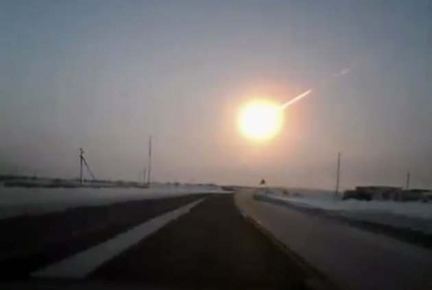 In this frame grab made from a video done with a dashboard camera, on a highway from Kostanai, Kazakhstan, to Chelyabinsk region, Russia, provided by Nasha Gazeta newspaper, on Friday, Feb. 15, 2013 a
