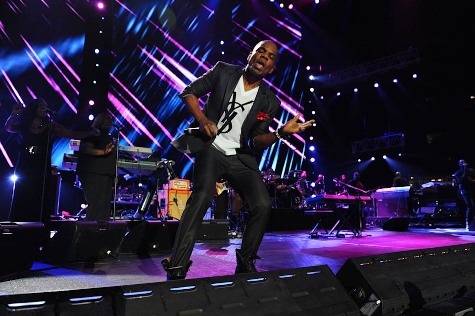 Kirk Franklin performs at the Essence Music Festival in New Orleans on Sunday, July 8, 2012.  (Photo by Cheryl Gerber/Invision/AP)