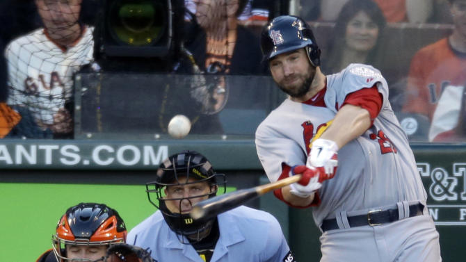 St. Louis Cardinals' Chris Carpenter hits an RBI double during the second inning of Game 2 of baseball's National League championship series against the San Francisco Giants Monday, Oct. 15, 2012, in San Francisco. (AP Photo/Mark Humphrey)