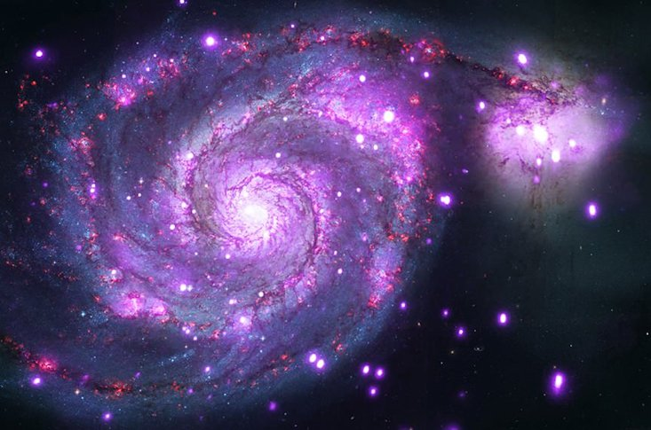 The Whirlpool Galaxy as photographed by NASA's Chandra X-Ray Observatory (NASA).