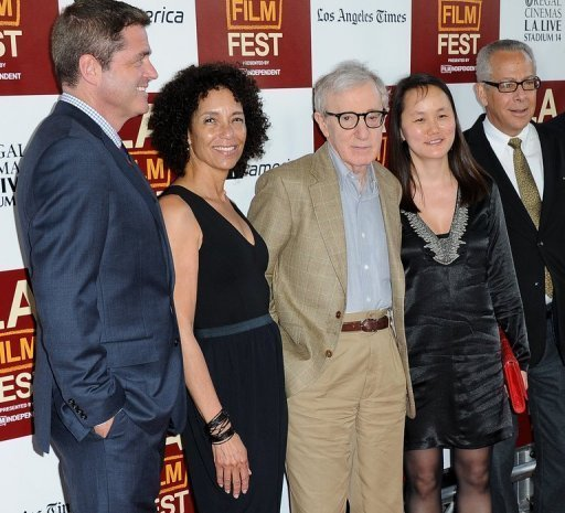 LA Film Festival Director Stephanie Allain, director/producer Woody Allen, Soon-Yi Previn and LAFF director David Ansen