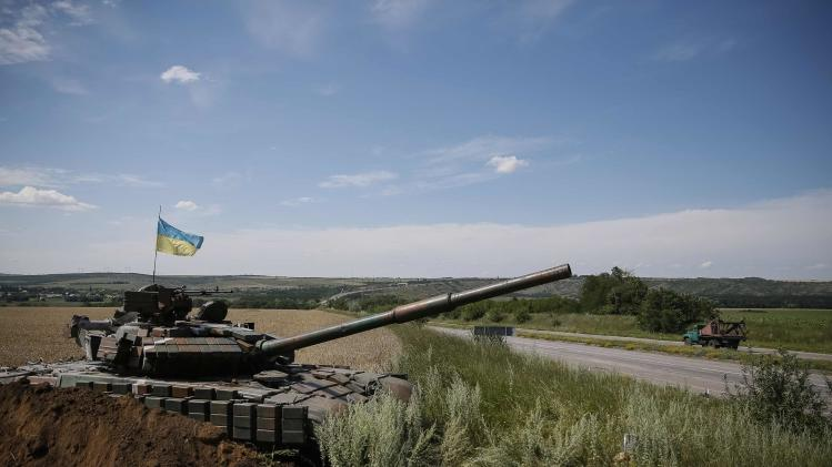 A Ukrainian tank is seen at a position near Konstantinovka
