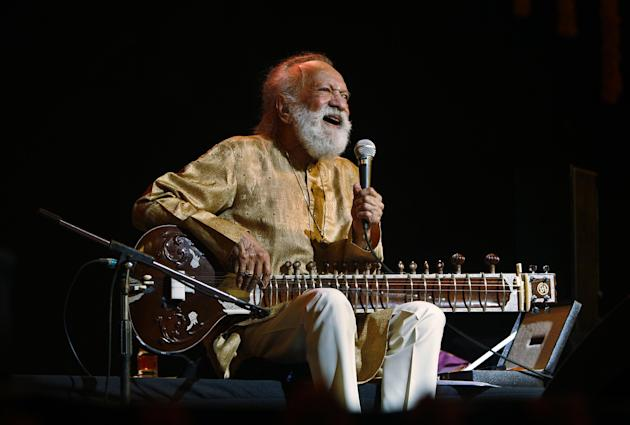 FILE - In this Feb. 7, 2012 file photo, Indian musician and sitar maestro Pandit Ravi Shankar, 92, performs during a concert in Bangalore, India. Shankar, the sitar virtuoso who became a hippie musica