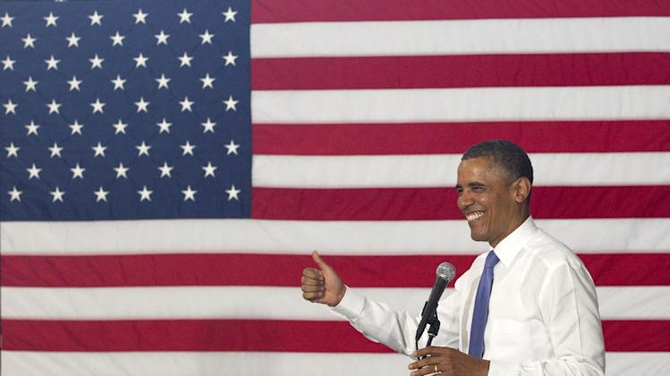 President Barack Obama speaks at Oyster River High School, Monday, June 25, 2012, in Durham, N.H. (AP Photo/Carolyn Kaster)