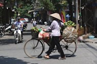 This file photo shows a fruit vendor pushing her bicycle along a street in Hanoi, on June 14. Vietnamese inflation slowed to the weakest pace in a year in June, an official estimate showed, mirroring slowing economic growth in the communist state