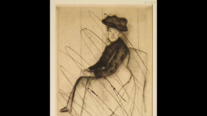 "In this undated photo released by the New York Public Library, a cancelled print entitled ""reflection,"" by American Artist Mary Cassatt is shown. Cassatt would make no more than 25 impressions from a single plate and then would incise the plate with a dry point needle so no one could pull any images from it again, said Madeleine Viljoen, curator of the library's print collection. Eighty-eight examples of Cassatt's work as a printmaker will be on display at the New York Public Library starting Friday, March, 8, 2013, in an exhibit entitled ""Daring Methods: The Prints of Mary Cassatt."" (AP Photo/New York Public Library, Mary Cassatt)"