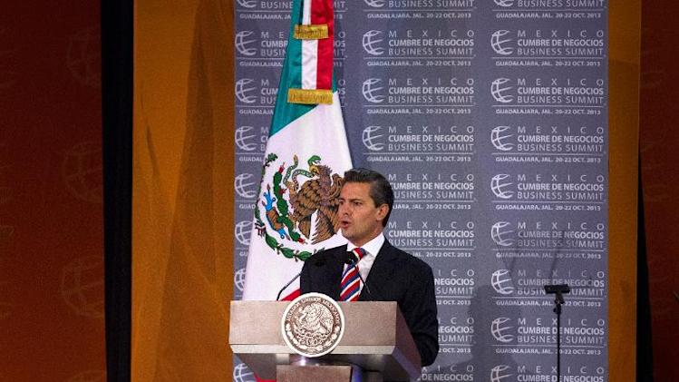 Mexican President Enrique Pena Nieto speaks during the last day of the Mexico Business Summit in Guadalajara, Mexico, on October 22, 2013