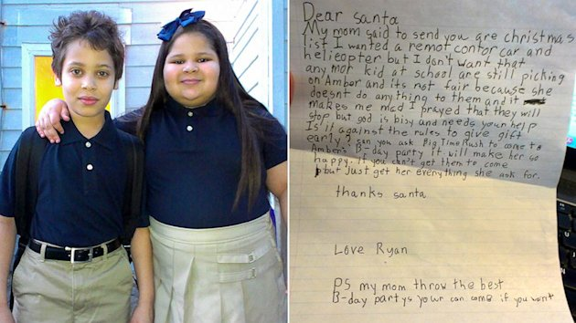 8-Year-Old Boy Asks Santa to End His Sister's Bullying (ABC News)